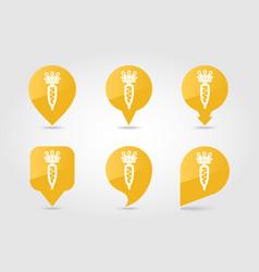 Daikon flat pin map icon vegetable root vector