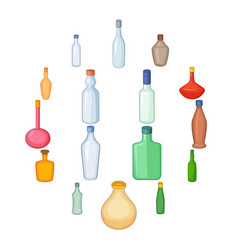 different bottles icons set cartoon style vector image