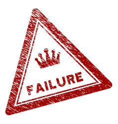 Distress textured failure triangle stamp seal vector