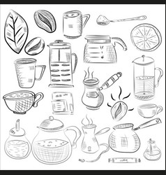 Doodle hand drawn pattern sketches isolated vector
