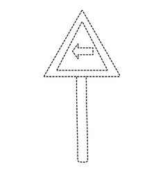 Dotted shape triangle metal notice with turn left vector