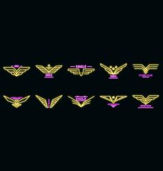 Eagle logo set neon vector