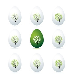 Easter eggs design art trees vector image