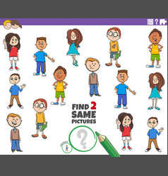 Find two same kid characters game vector