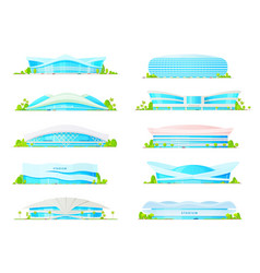 Flat icons sport game arena stadium buildings vector