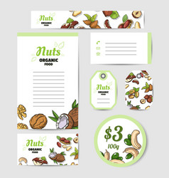 Fresh nuts set cards vector