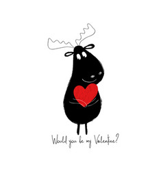 Funny moose holding red heart vector