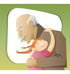 Grandfather and grandchild vector