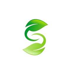green leaf circle letter s logo vector image