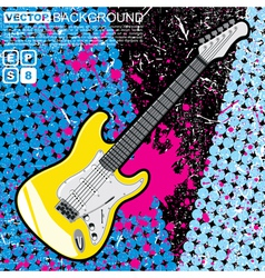 Guitar n grunge background vector image vector image