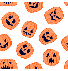 halloween scary pumpkin pattern 6 vector image