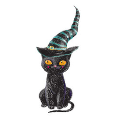 hand drawn cute black witch cat with old hat vector image