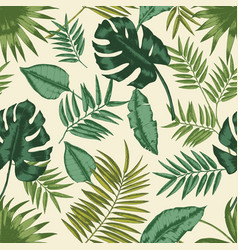 hawaiian seamless pattern with exotic foliage vector image