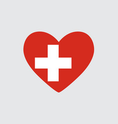 Heart in colors of the switzerland flag vector