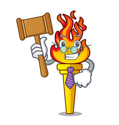 Judge torch mascot cartoon style vector