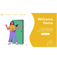 Landing page welcome home concept vector