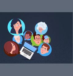 Laptop mix race chat bubbles support virtual vector