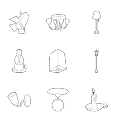 Light equipment icons set outline style vector image