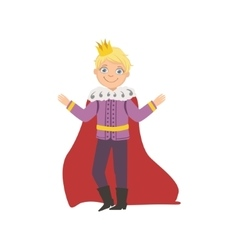 Little Boy In Mantle Dressed As Fairy Tale Prince vector image