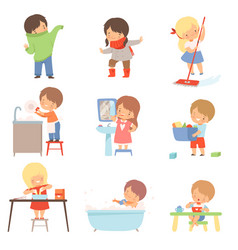 Little kids doing things on their own vector