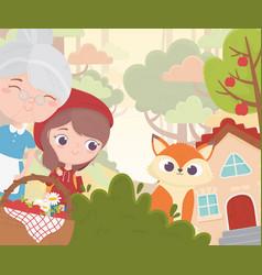 Little red riding hood grandma wolf basket house vector