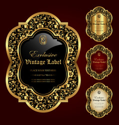 Luxury ornamental gold-framed labels vector