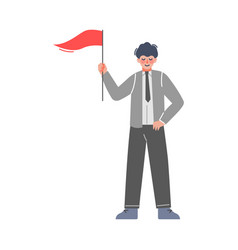 man holding red flag successful businessman goal vector image