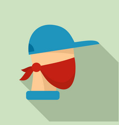 Masked protester icon flat style vector