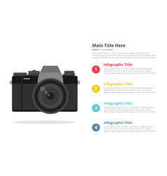 Mirrorless camera infographic template with 4 vector