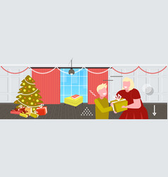 mother giving gift present box to little son merry vector image