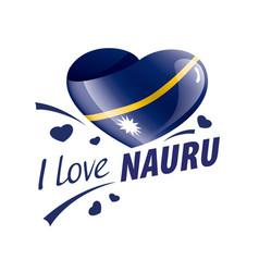 national flag nauru in shape a heart vector image