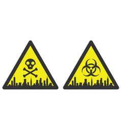 new york danger emergency biological hazard signs vector image