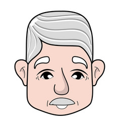 Old man face with moustache and hairstyle vector