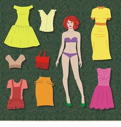 paper doll with set of cloths vector image