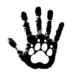 Paw on palm vector