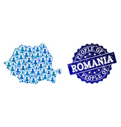 People collage of mosaic map of romania and vector