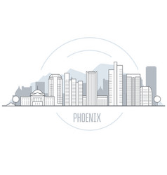 phoenix city skyline - towers and landmarks of vector image