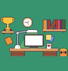 Pixel art desk vector