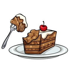 Plate with a slice of cake vector