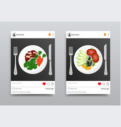 Plates dishes instagram set vector