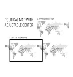 political map of world with adjustable center vector image
