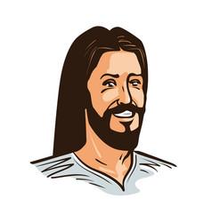 portrait happy jesus christ cartoon vector image