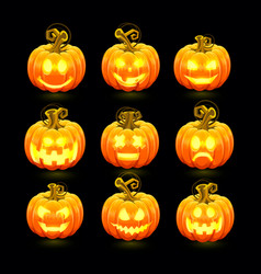pumpkin with carved face on a black background vector image