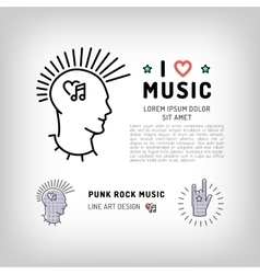 Punk rock music icons Rock hand symbol Modern vector