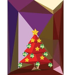Red Polygonal Christmas Tree3 vector image