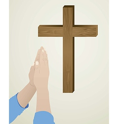 religious person kneeling in prayer to god vector image