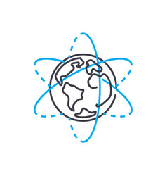 Satellite systems thin line stroke icon vector