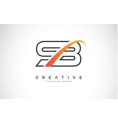Sb s b swoosh letter logo design with modern vector