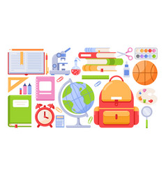 school tools icon set cartoon vector image