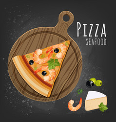 Seafood pizza slice vector